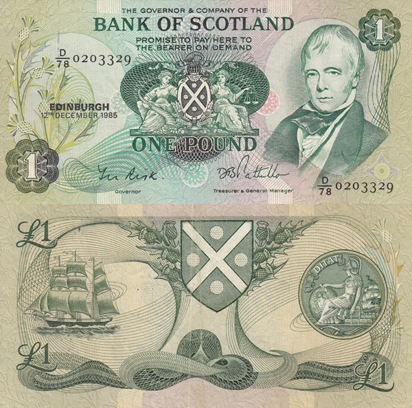 1970-1988 Issue - Bank of Scotland - 1 Pound