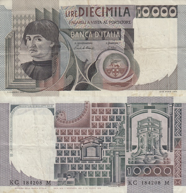 1976-1984 Issue - 10000 Lire