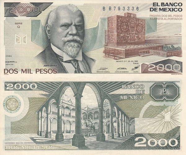 1983-1984 Issue - 2000 Pesos