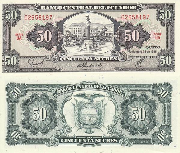Emisiunea 1950-1982; 1984; 1988 - 50 Sucres