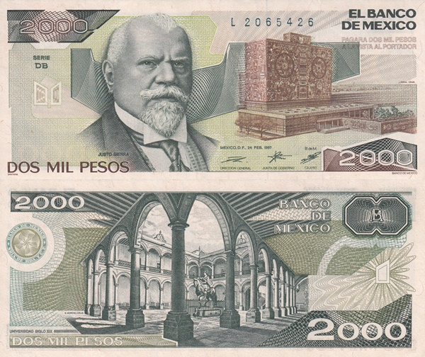 1985-1989 Issue - 2000 Pesos