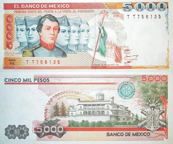 1985 Issue - 5000 Pesos