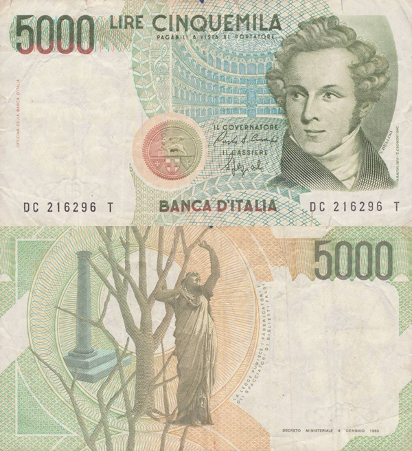 1985 Issue (Bank of Italy - Banca d'Italia: Decreto Ministeriale 04.01.1985)