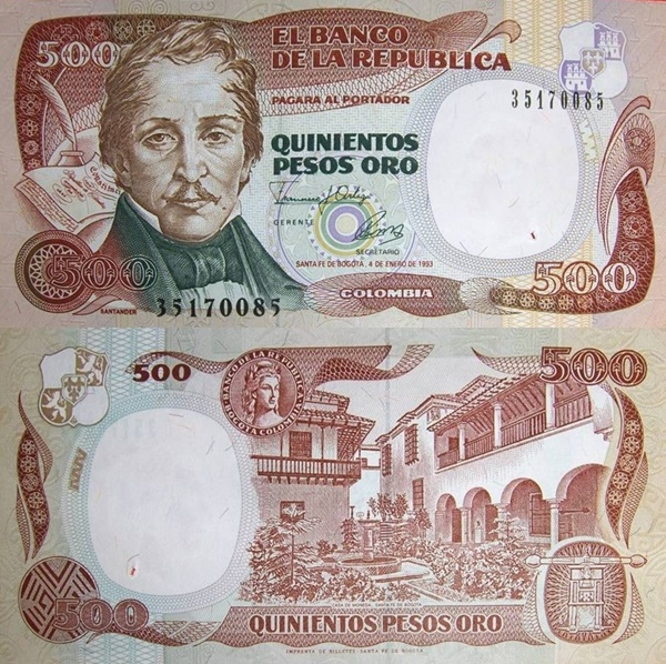 1986-1993 Issue - 500 Pesos Oro