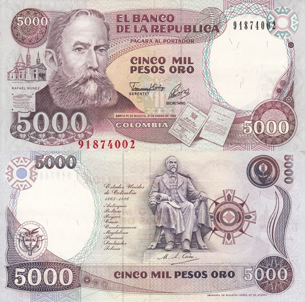 1987-1993 Issue - 5000 Pesos Oro
