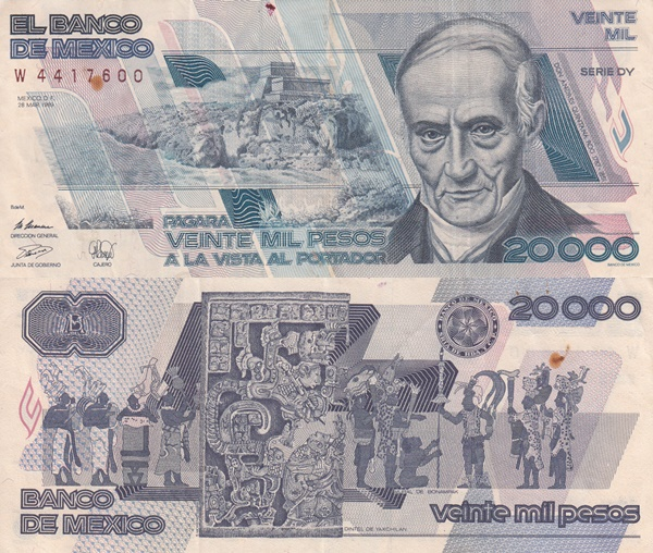 1988-1989 Issue - 20,000 Pesos