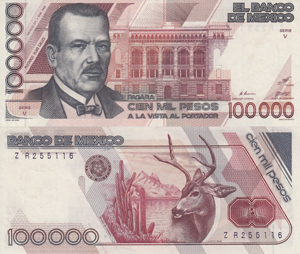 1988 & 1991 Issue - 100,000 Pesos