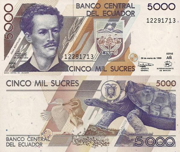 Emisiunea 1991-1999 - 5000 Sucres