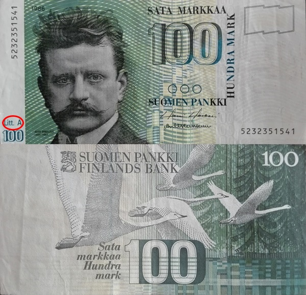 1991 ND Issue (Dated 1986), Litt. A - 100 Markkaa/ Mark