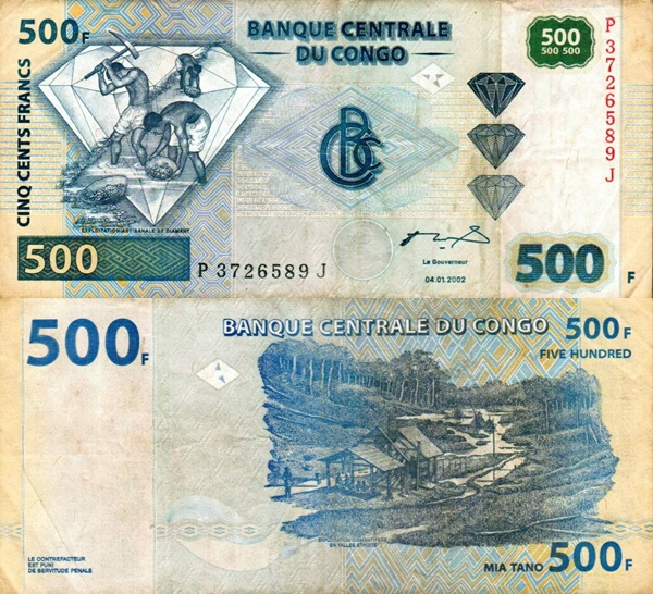 2002 (04. 01.) & 2013 (30. 06.) Issue - 500 Francs