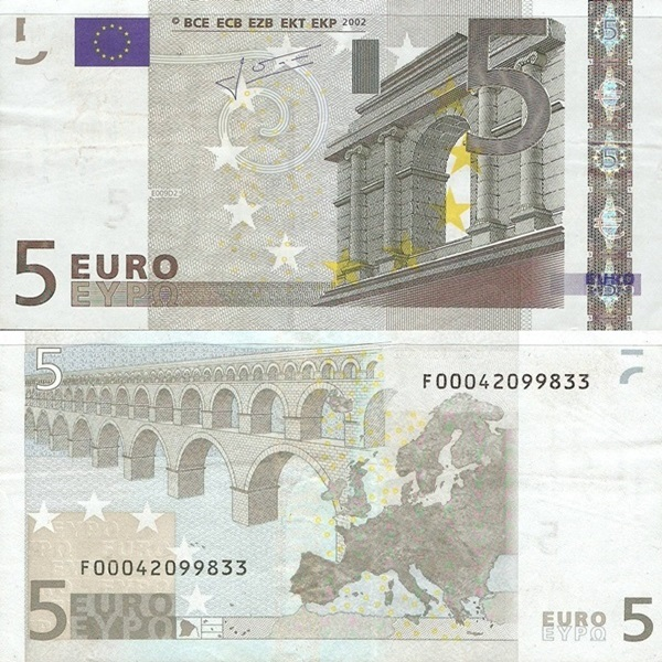 2002 Issue - 5 Euro (Signature  Jean-Claude Trichet)