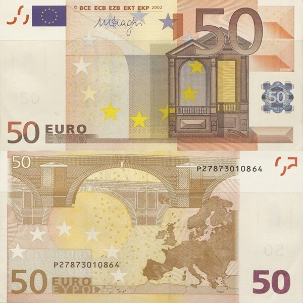 2002 Issue - 50 Euro (Signature  Mario Draghi)