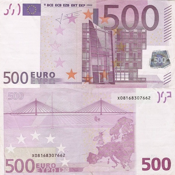 2002 Issue - 500 Euro (Signature  Jean-Claude Trichet)