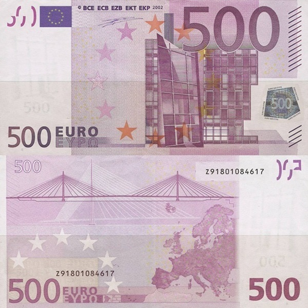 2002 Issue - 500 Euro (Signature  Willem F. Duisenberg)