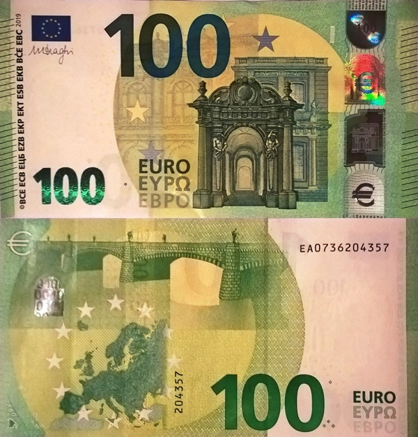 2019 Issue - 100 Euro (Signature Mario Draghi)