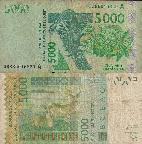 Cote D'Ivoire (Ivory Coast) (A) 2003 Issue – 5000 Francs