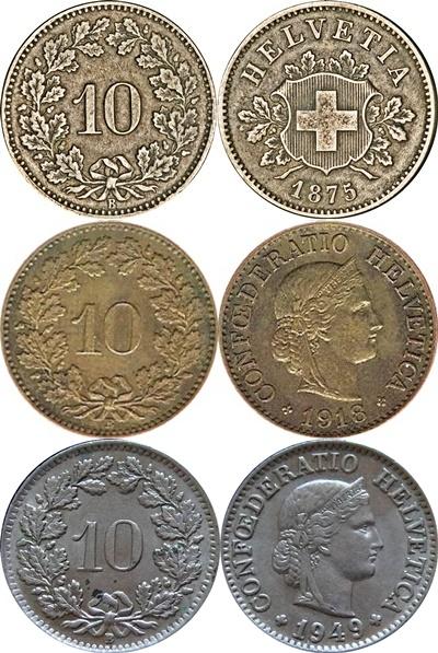 Confederation - 1850-2019 - 10 Rappen