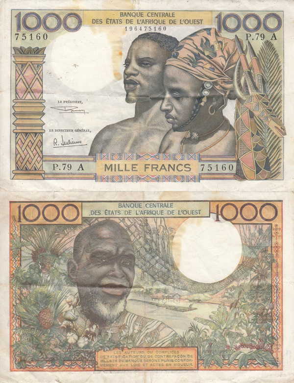 Cote D'Ivoire (Ivory Coast) (A) - 1959-1965; ND Issue – 1000 Francs