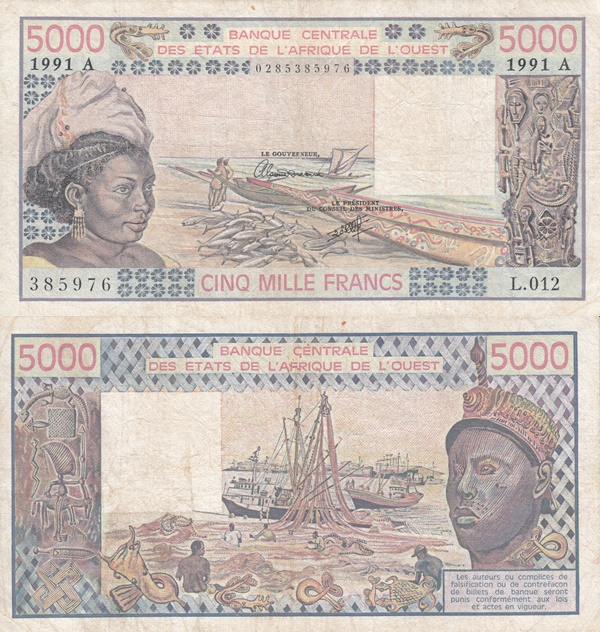 Cote D'Ivoire (Ivory Coast) (A) 1977-1991 Issue – 5000 Francs