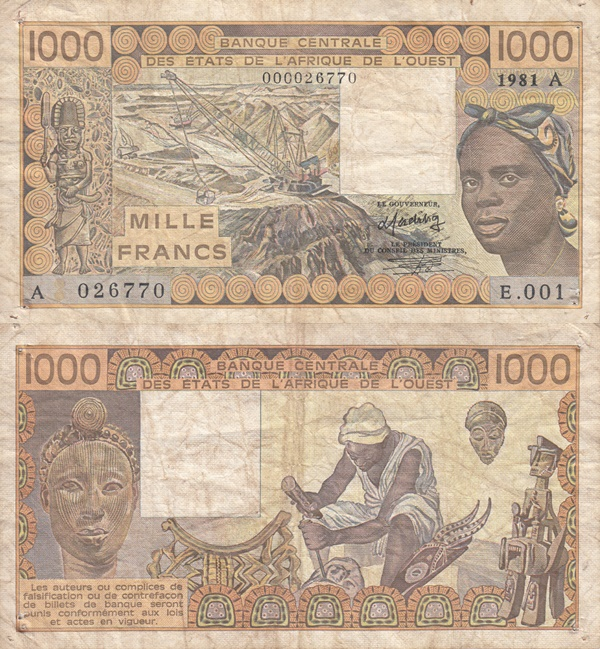 Cote D'Ivoire (Ivory Coast) (A) - 1981-1990 Issue – 1000 Francs