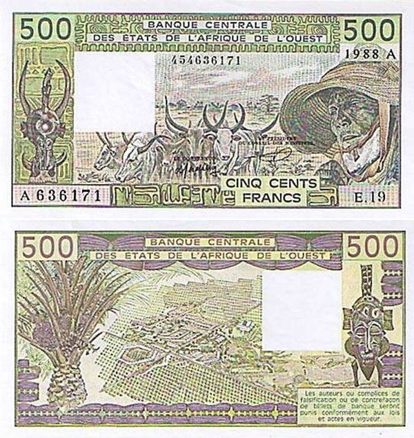 Cote D'Ivoire (Ivory Coast) (A) - 1981-1990 Issue – 500 Francs