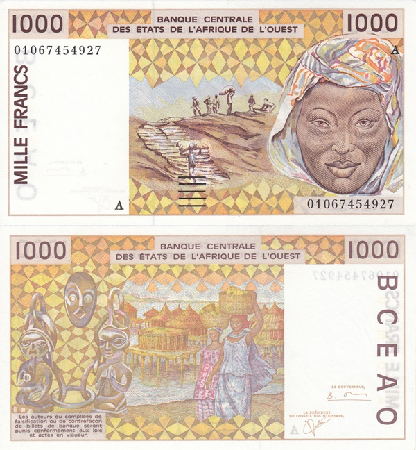 Cote D'Ivoire (Ivory Coast) (A) - 1991-2003 Issue – 1000 Francs