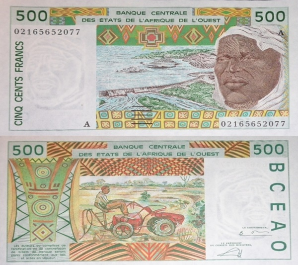 Cote D'Ivoire (Ivory Coast) (A) - 1991-2003 Issue – 500 Francs