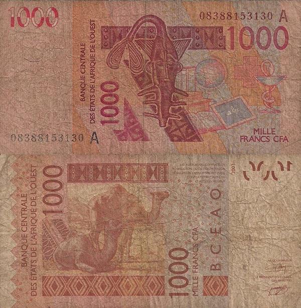 Coasta de Fildeş (Cote D'Ivoire , Ivory Coast) (A) - Emisiunea 2003 – 1000 Franci