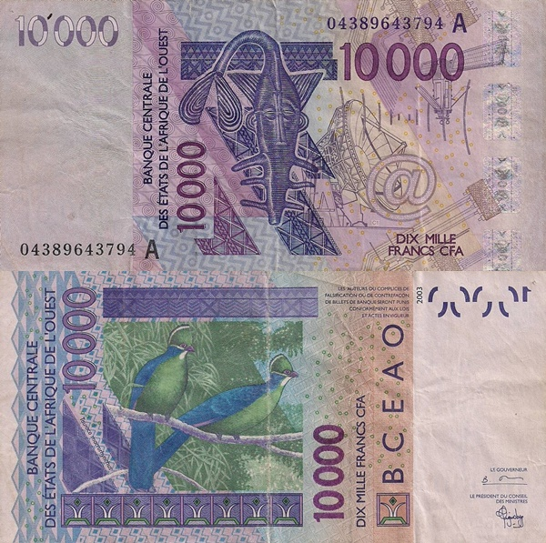 Cote D'Ivoire (Ivory Coast) (A) 2003 Issue – 10000 Francs