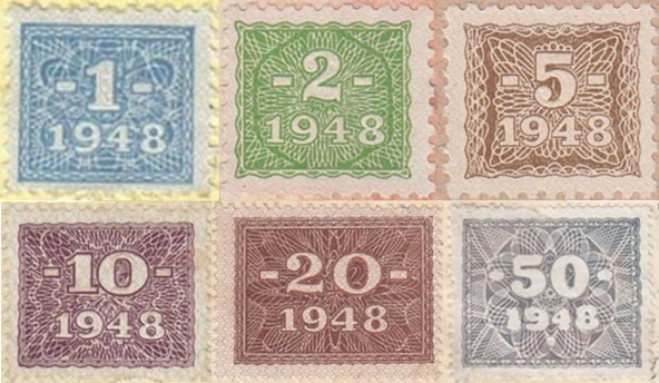 1948 Issue - Democratic Republic - Soviet occupation zone - Currency Reform Issue (Stamps affixed on Rentenmark and Reichsmark)