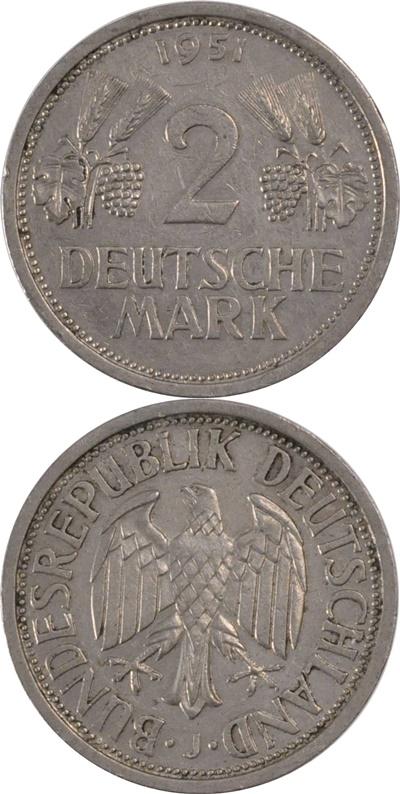 Republică Federală - 1951 - 2 Mărci