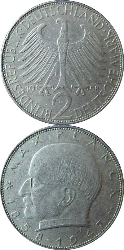 Republică Federală - 1957-1971 - 2 Mărci (Max Planck)