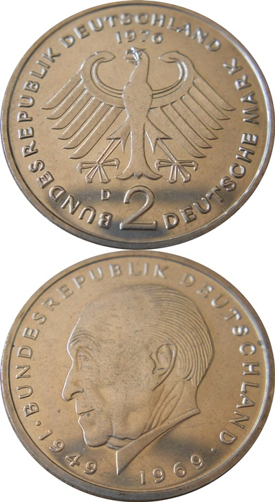 Federal Republic - 1969-1987 - 2 Mark (Konrad Adenauer)