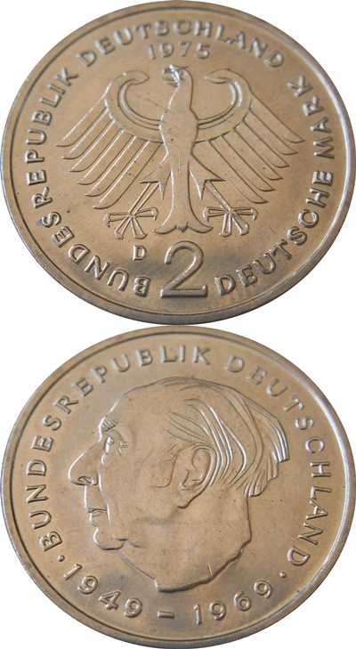 Federal Republic - 1970-1987 - 2 Mark (Theodor Heuss)