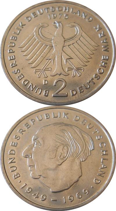 Republică Federală - 1970-1987 - 2 Mărci (Theodor Heuss)
