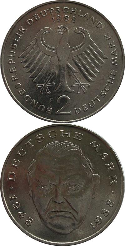 Republică Federală - 1988-2001 - 2 Mărci (Ludwig Erhard)