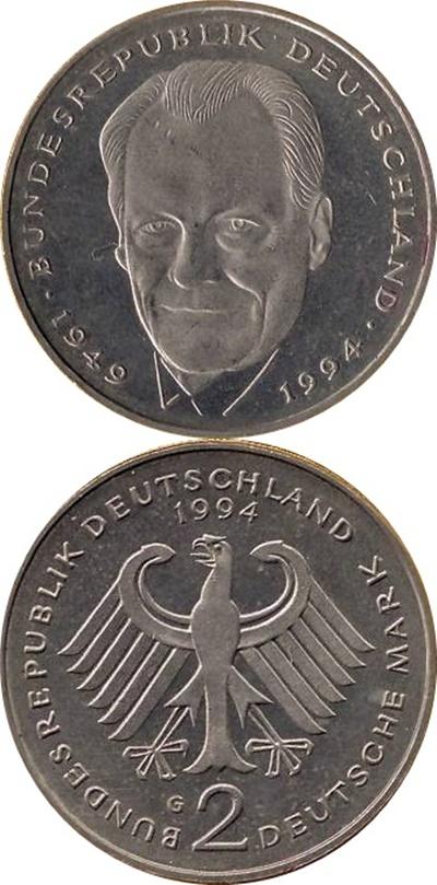 Republică Federală - 1994-2001 - 2 Mărci (Willy Brandt)