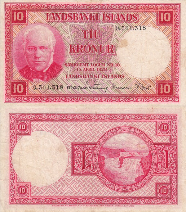 Law of 15.04.1928 (Issued 1948-1956) - 10 Krónur