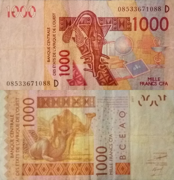 Mali (D) - 2003-2017 Issue - 1000 Francs