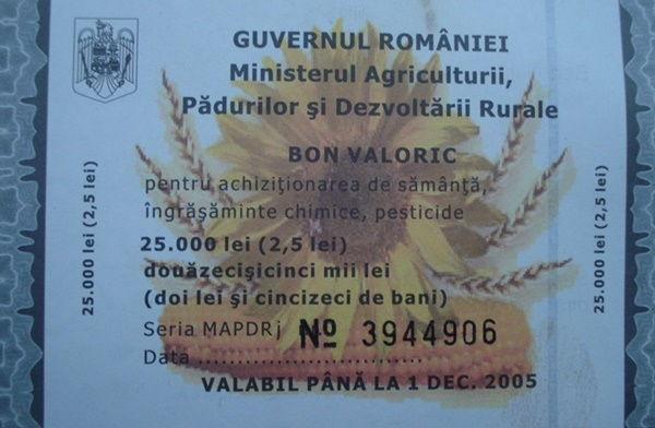 Ministry of Agriculture and Rural Development - Vouchers