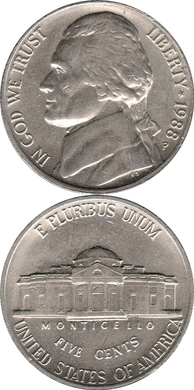 Nickel (Five Cents), Jefferson (1938-2003)