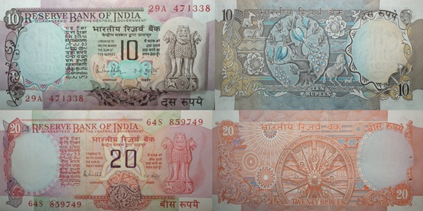 Reserve Bank of India – Third Series (10 Rupees, 20 Rupees)