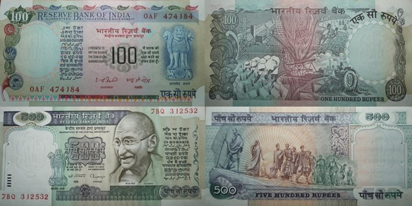 Reserve Bank of India –  Seria a III-a (100 Rupees, 500 Rupees)
