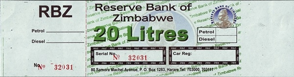 Reserve Bank of Zimbabwe - Cupoane combustibil