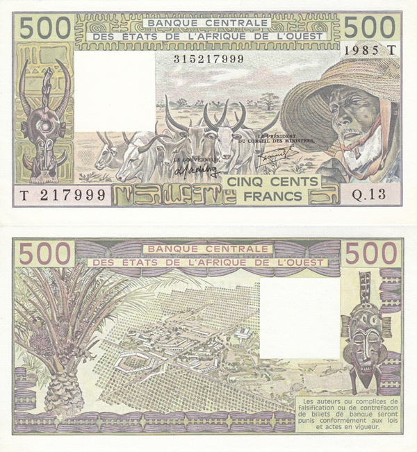 Togo (T) - 1979; 1981-1990 Issue – 500 Francs
