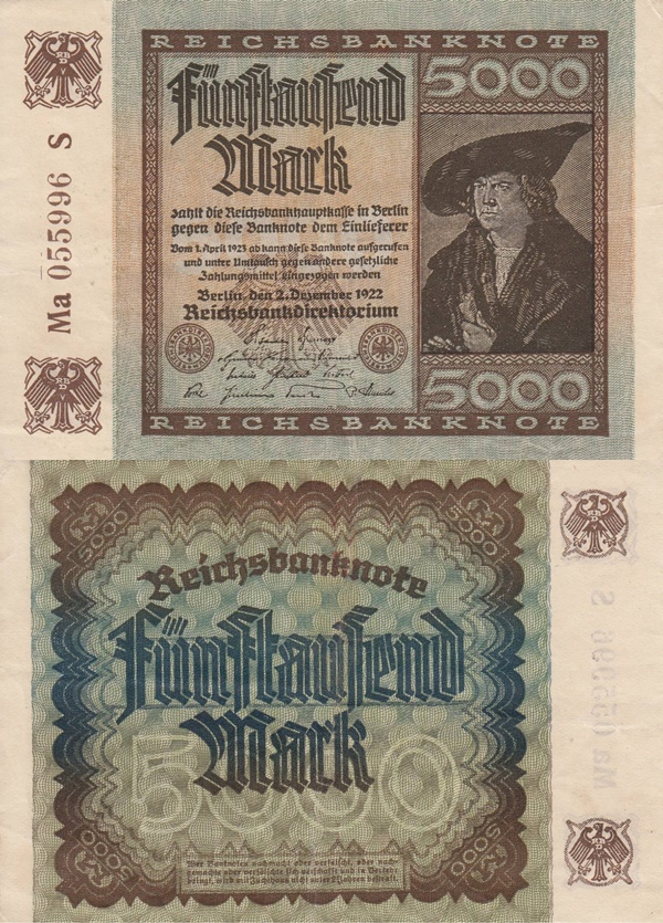 Weimar Republic (Reichsbanknoten) - Treasury Notes - 1922 Fourth Issue